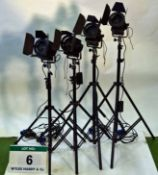 Four LTM Pepper 300 Watt FRESNEL Lights with Dimmer Controls and Lightweight Triple Extending Stands