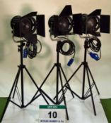 Three LTM Pepper 650 Watt 1K FRESNEL Lights with Lightweight Double Extending Stands