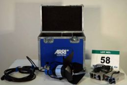 An ARRI Pocket Lite 200 Light with Associated Leads Ballast Power Supplies in Bespoke Flight Case