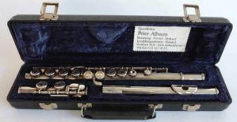 QUERFLÖTE, Manufaktur King, Mundstück, ca. 80g 925er-Silber, restlicher Korpus versilbert, num.
