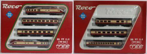 ZUGPACKUNG, BR VT 11.5 VT 601 TEE, Hersteller Roco/ Bergheim, Spur H0, Nr. 14183A, dazu Waggons, Nr.