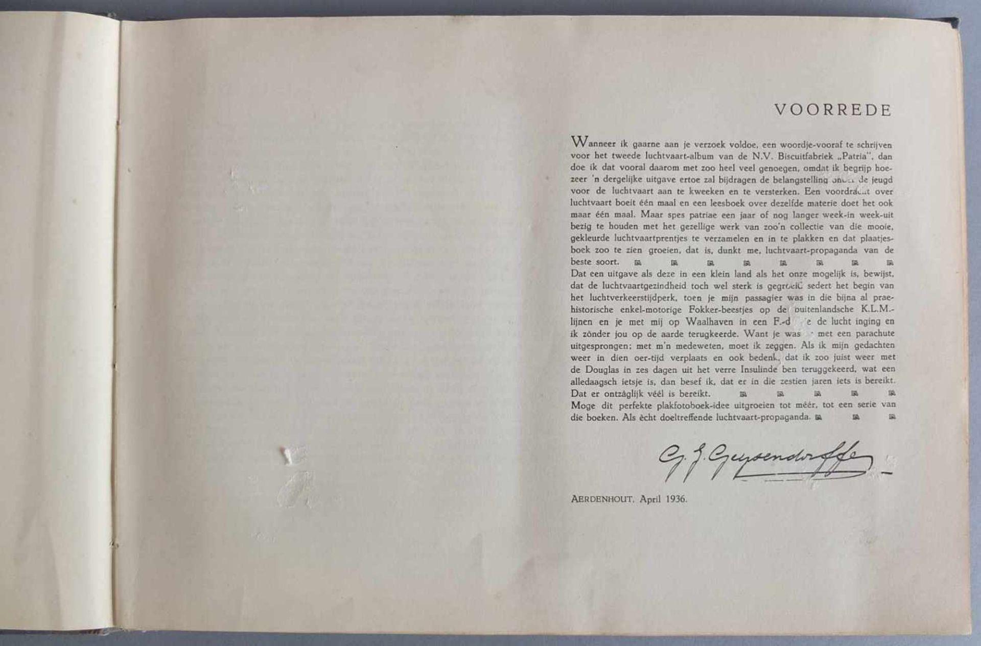 SAMMELALBUM, Patria´s Luchtvaartalbum, Henri Hegener, Amsterdam, 1936, geprägter Leineneinband, - Bild 4 aus 6