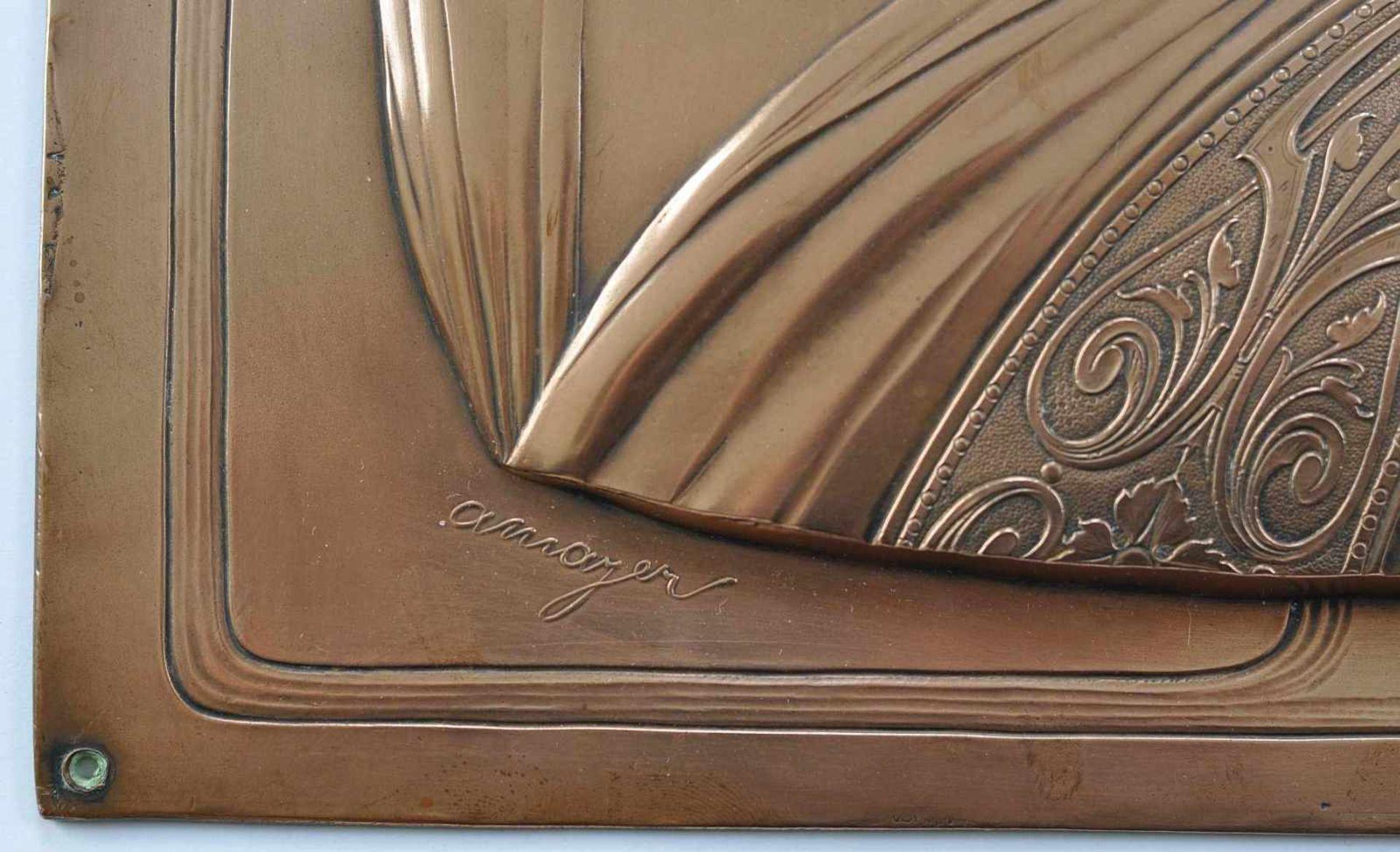 MAYER, Albert (*1867 Esslingen +1944 Geislingen), Reliefplakette, Kupfer, geprägt, getrieben, - Bild 2 aus 2