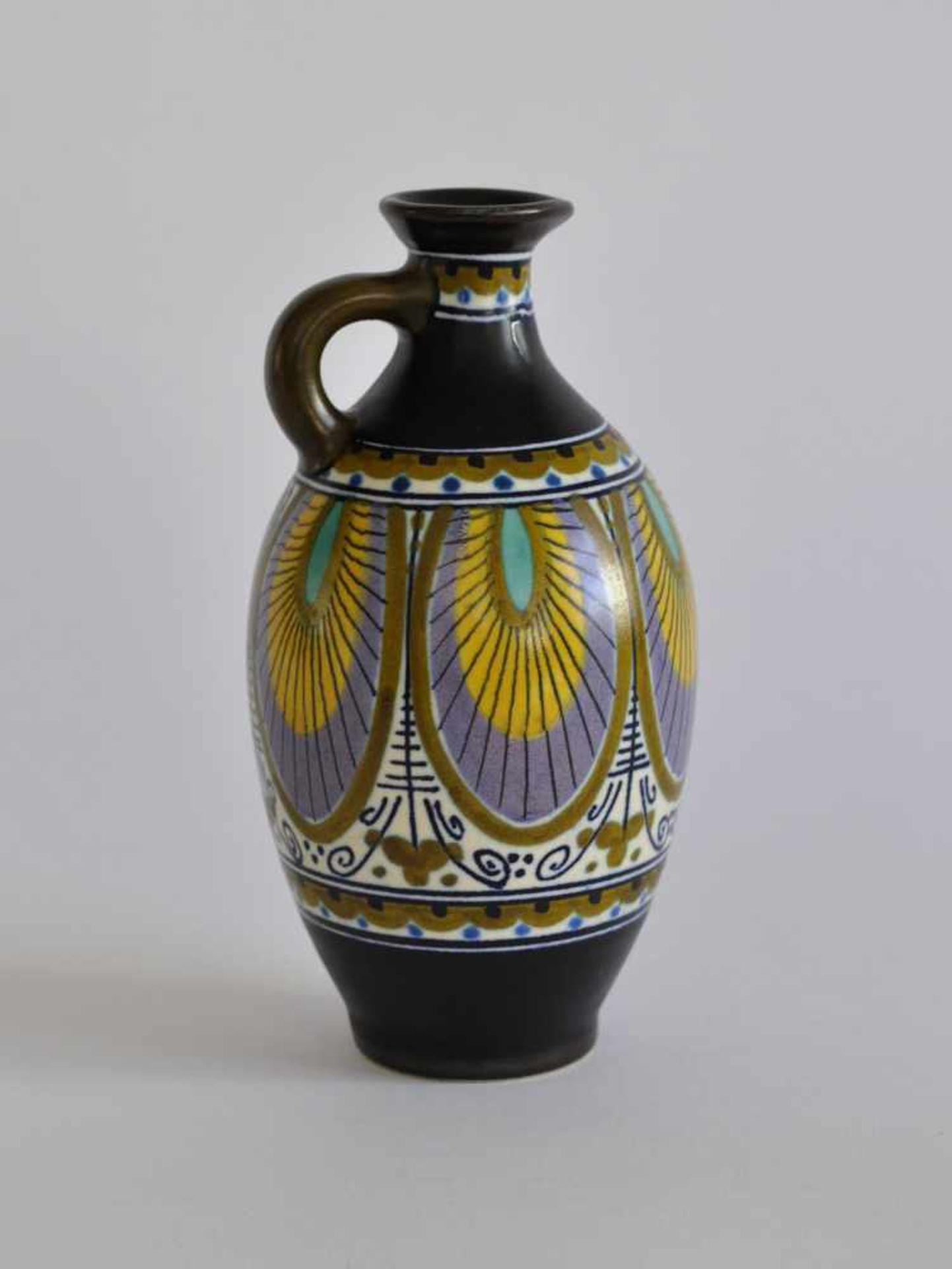 HENKELKANNE, Manufaktur Plateelbakkerij Zuid-Holland/ Gouda, 1920er-Jahre, Art Deco-Epoche, Fayence,