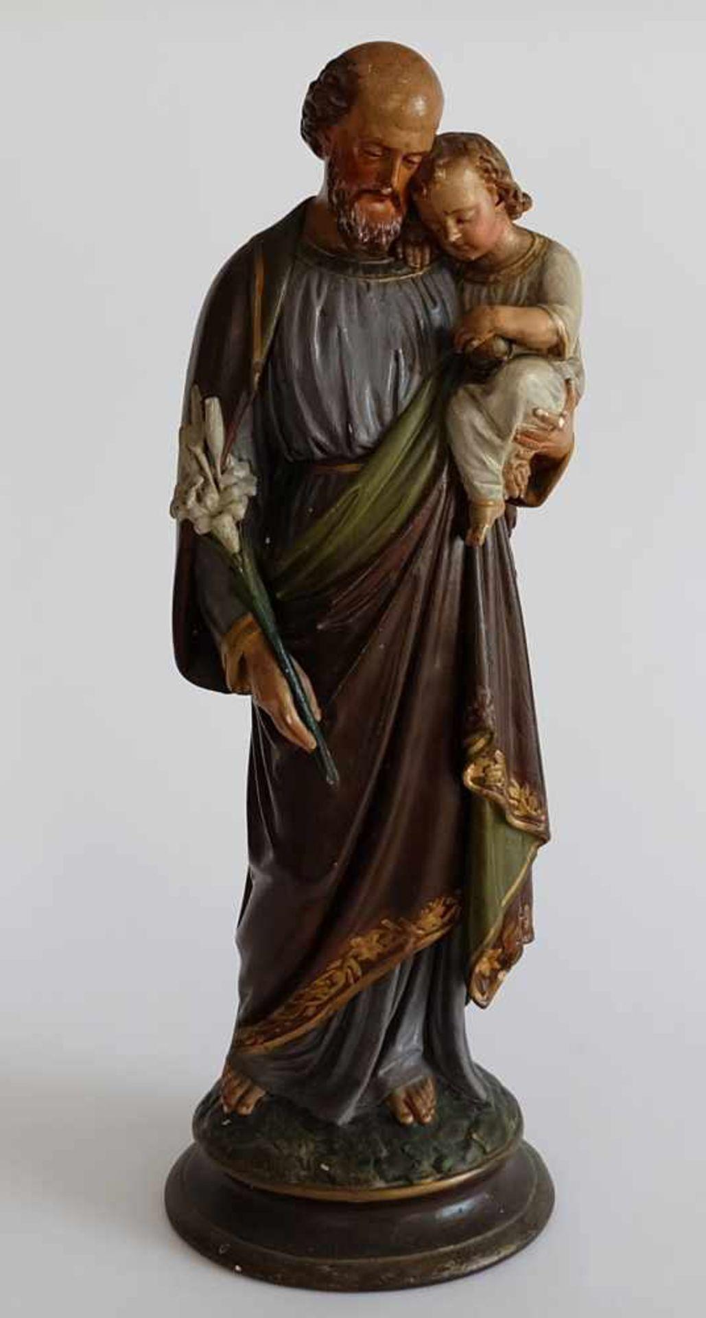 GRUPPE, Heiliger Josef mit Jesuskind Deutsch, um 1900, Gips, polychrom gefasst, teilweise berieben
