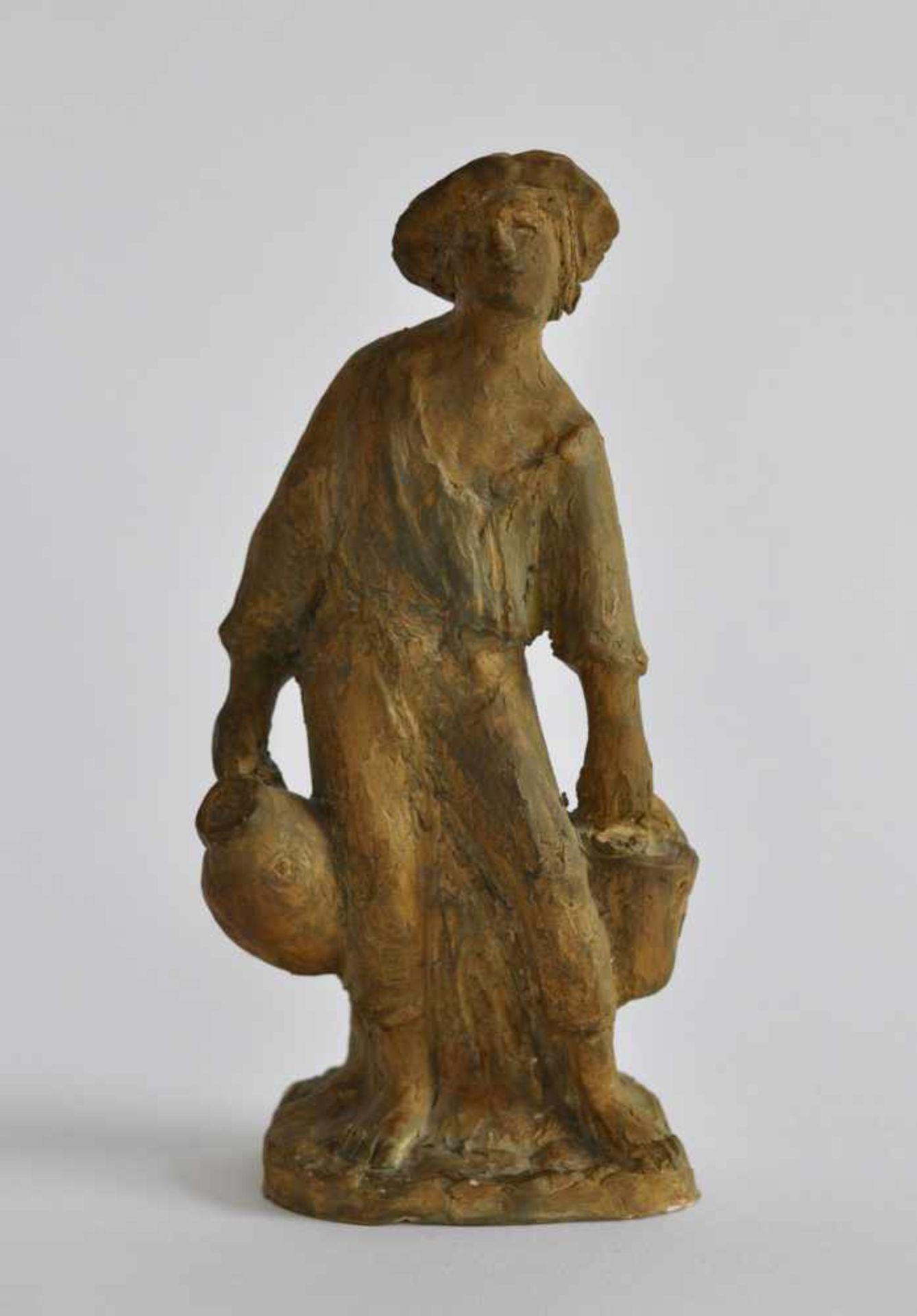 SCHÖNBOHM-KELLER, Elsbeth (*1901 Stuttgart +1992), Skulptur, weißer Ton, braun-changierend