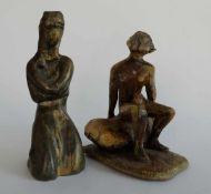 STUDIOKERAMIK, Bettermann (?), Frauenakte, sitzend bzw. hockend, colorierte bzw. patinierte