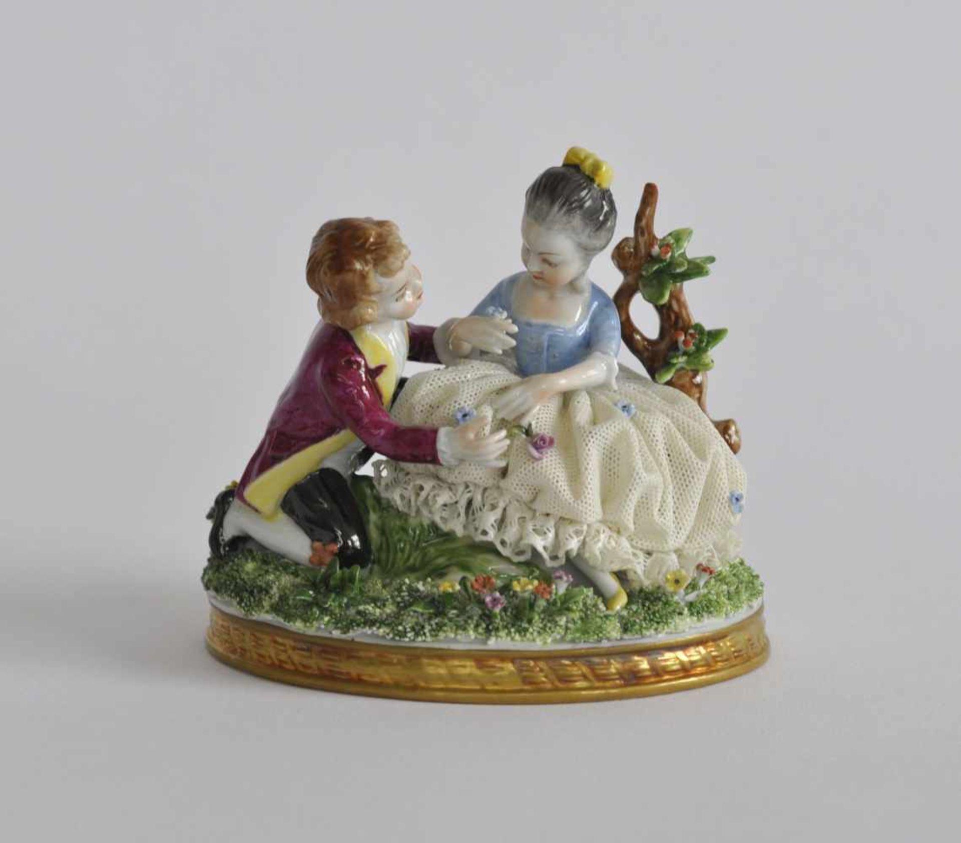 GRUPPE, Unterweißbacher Werkstätten für Porzellankunst, polychrom, Der kleine Charmeur, bossierte