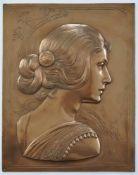 MAYER, Albert (*1867 Esslingen +1944 Geislingen), Reliefplakette, Kupfer, geprägt, getrieben,