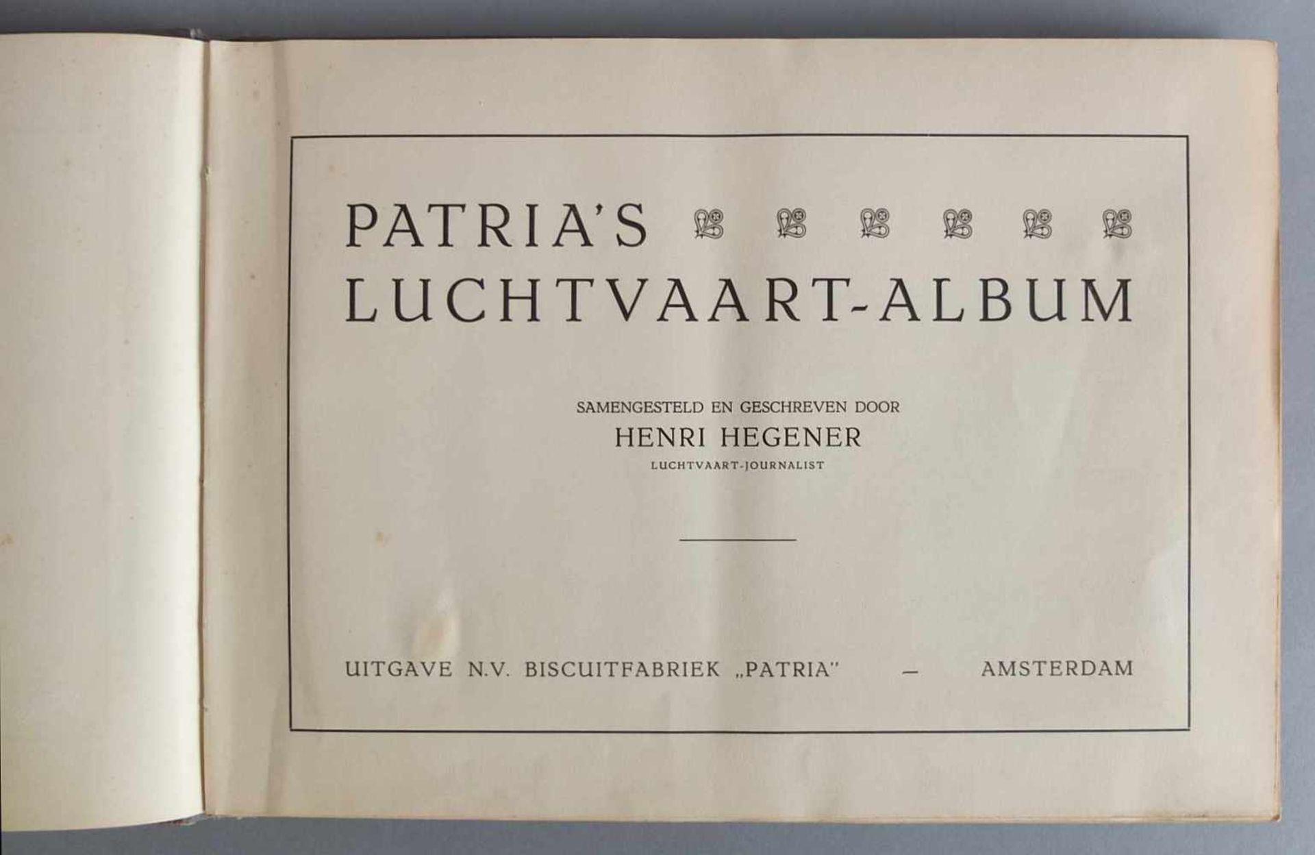 SAMMELALBUM, Patria´s Luchtvaartalbum, Henri Hegener, Amsterdam, 1936, geprägter Leineneinband, - Bild 2 aus 6