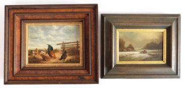 GEMÄLDE, Konvolut von 2, Öl/ Holz, bestehend aus: Delamare, Pferdefuhrwerk auf winterlichem Feldweg,