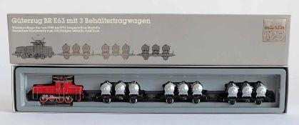 ZUGPACKUNG, Güterzug mit 3 Behälterwagen, BR E63, Sonderserie zum 125jährigen Märklin-Jubiläum,