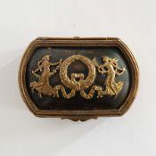 DECKELDÖSCHEN, Frankreich, Napoleon III-Epoche, Gelbguss/ Kupfer, Reste von Feuervergoldung,