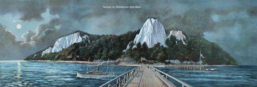 """ANSICHT, colorierte Fotocollage, um 1900, """"Panorama von Stubbenkammer, Insel Rügen, 28 x 80,5 cm"""