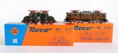 PAAR ELEKTROLOKOMOTIVEN, BR E71, Herst. Roco/Bergheim, Spur H0, Nr. 04196 A und 04139 B, minimalst