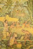 "Balinesisches Stoffgemälde ""Reisernte"" Figurenstaffage in Kulturlandschaft, unten links signiert ""D."