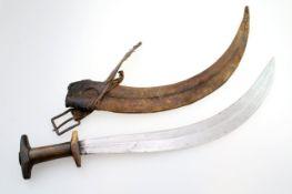 """Äthiopien - Abessinische """"Shotel"""" 19. Jahrhundert Stark gepfeilte, vierfach konkave Klinge mit"""