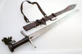 """Sudan - Schwert """"Kaskhara"""" um 1900 Qualitätvolle, zweischneidige Klinge, beidseitig drei Züge,"""