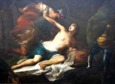 """Monumentalgemälde """"Tarquinius und Lucretia"""" - Francesco Botti (1640-1711) Öl auf Leinwand,"""