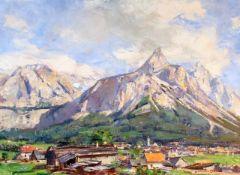 """""""Zugspitze"""" - Rudolf Schramm - Zittau (1874-1950) Öl auf Leinwand, unten rechts signiert,"""
