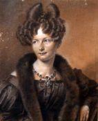 Biedermeierzeichnung der Mathilde Gräfin von Wartensleben - Prof. Franz Krüger (1797-1857) Aquarell,