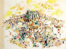 Stadtansicht Palma mit Kathedrale - John Ulbricht (1926-2006) Aquarell und Tuschezeichnung auf