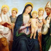 """""""Maria mit dem Kind und den 4 Heiligen"""" - nach Giovanni di Pietro (1450-1528) Öl auf Holz, verso"""