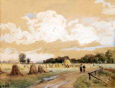 """Heuernte"" - Philipp Röth (1841-1921) Aquarell / Kreide, unten links signiert. Maße: 20 x 15 cm."