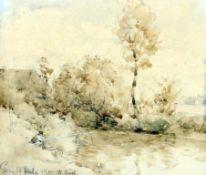 Landschaftsstudie zu Gern - Philipp Röth (1841-1921) Aquarell / Bleistiftzeichnung, unten links bez.