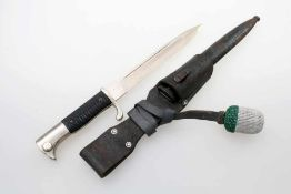 3. Reich - Extra Seitengewehr K98 Aufpflanzbar, vernickelte Rückenklinge, gewaffelte