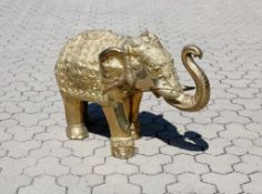 Vergoldeter, großer Elefant - Indien Festlich geschmückter Elefant, reich halbplastisch