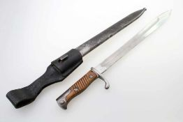 1. Weltkrieg - Seitengewehr 98/05 n.A. an Koppelschuh Feldmäßig angeschliffene, gekehlte