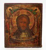 """""""Christus Pantokrator"""" - Ikone Russland - 19. Jahrhundert Eitempera auf Holz, zentral Antlitz"""