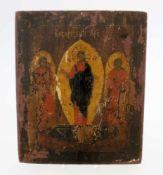 Russische Ikone - 19. Jahrhundert Eitempera auf Kreidegrund. Jesus mit 2 Heiligen. Maße: 22 x 27