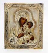 Russische Ikone im Silberoklad, datiert 1895 Eitempera auf Kreidegrund, Oklad gest. 84 Zolotniki (