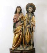 Großes Figurenpaar - Kosmas und Damian Polychrom- und goldstaffiert, die Schutzheiligen der