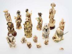 11 Figuren und 5 Netsukes - China Traditionelle Darstellungen von männlichen und weiblichen,