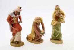 Krippenfiguren - Heilige 3 Könige - handgeschnitzt Kaspar, Balthasar und Melchior mit den jeweiligen