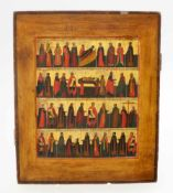 Monatsikone Zentralrussland - 19. Jahrhundert Eitempera auf Holz, rückseitig 2 Sponkis, am oberen