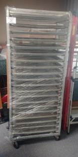 Lot 28 - Aluminum Bakers Rack including 24 Perforated Baking Sheets