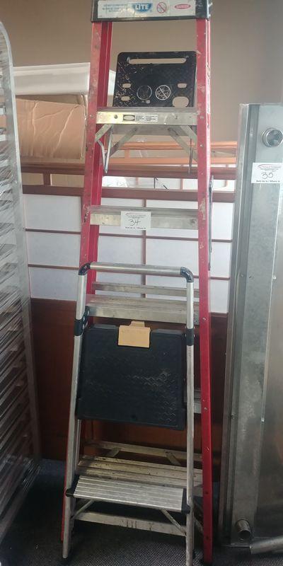Lot 34 - Fiberglass and Aluminum Ladders