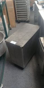 Lot 23 - Stainless Steel Four Ingredient Bin with Lid on Casters