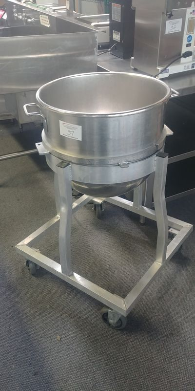 Lot 37 - Hobart 80 Quart Stainless Steel Bowl with Dolly