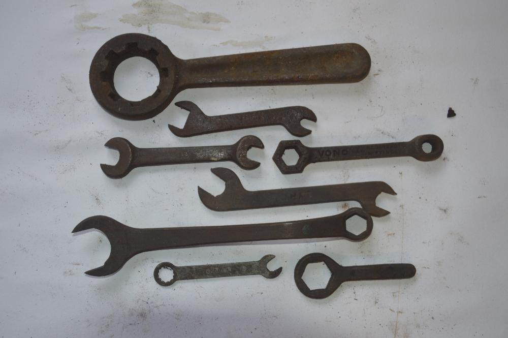 "Lot 11 - A collection of BSW - BSF spanners, length of longest approx. 10""."