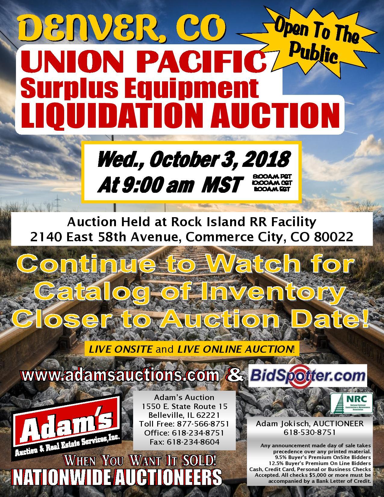Union Pacific Surplus Equipment Public Auction