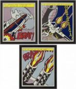 After Roy Lichtenstein (1932-1997) As i opened fire nach 1966 Offset-Lithographie Drei Poster