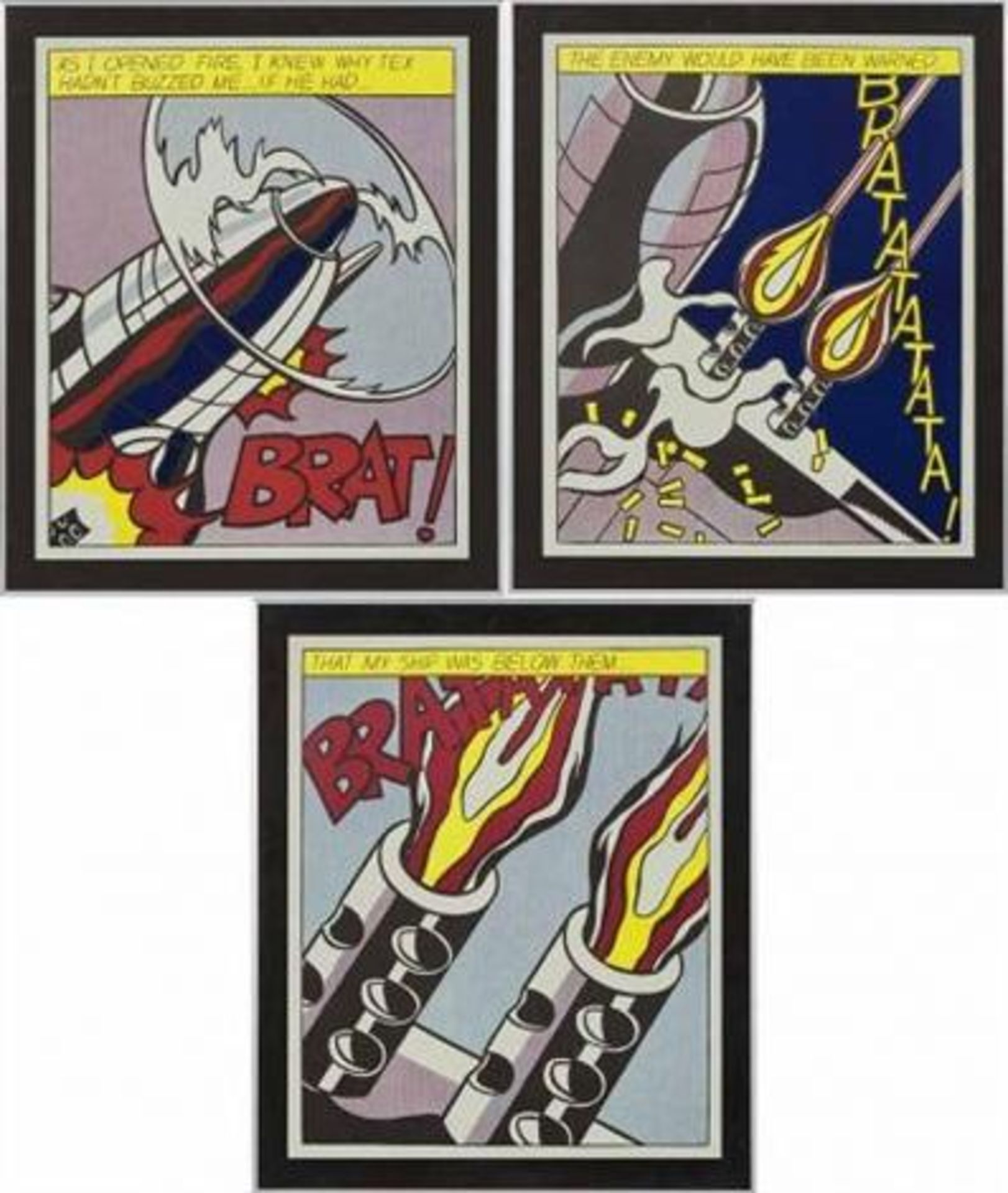 Los 23 - After Roy Lichtenstein (1932-1997) As i opened fire nach 1966 Offset-Lithographie Drei Poster
