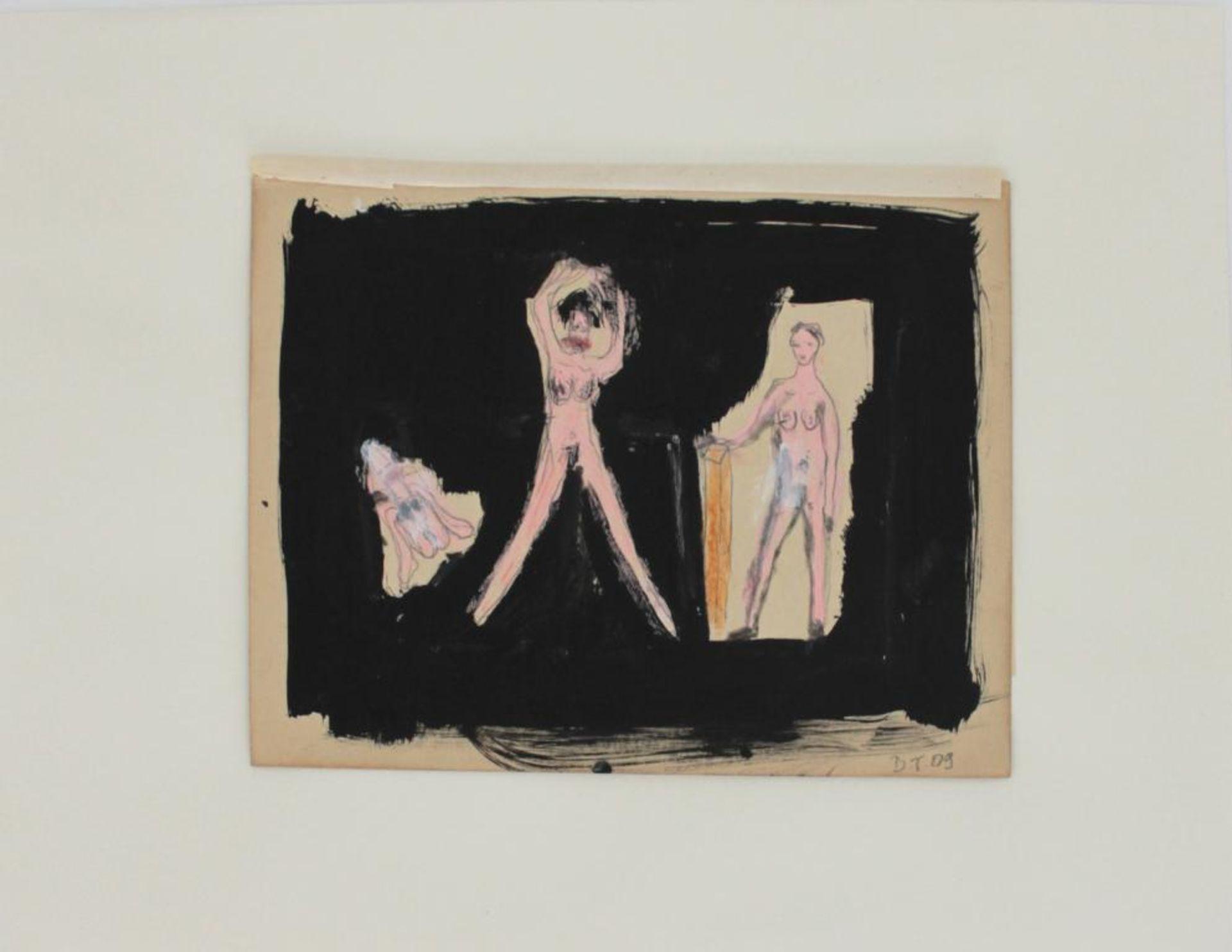 Thanner Billi (geb. 1972) Akt 2009 Mischtechnik auf Karton handsigniert, gerahmt 24 x 19 cm
