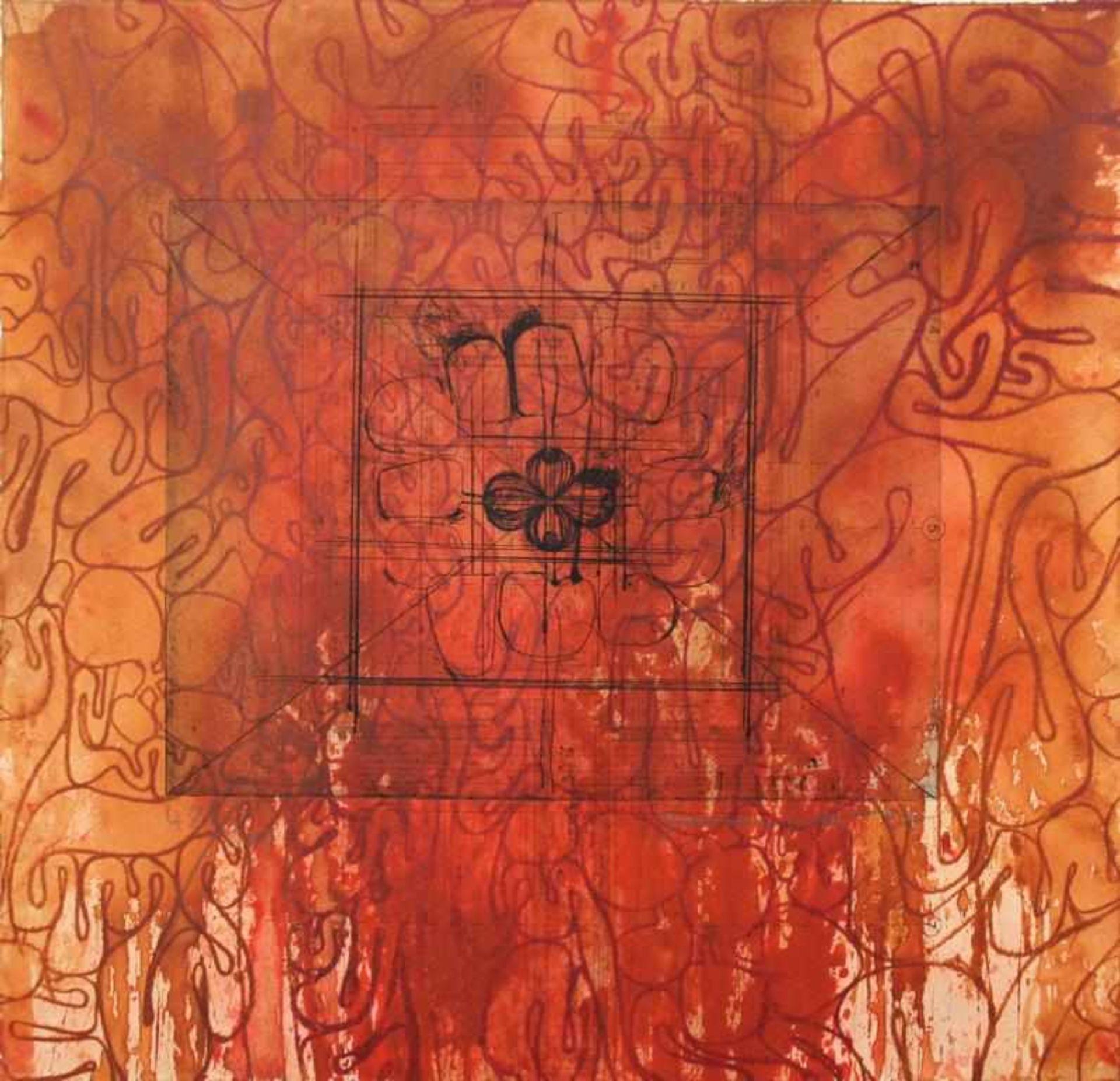 Nitsch Hermann (geb. 1938) Ohne Titel 2007 Radierung auf geschüttetem Büttenpapier handsigniert,