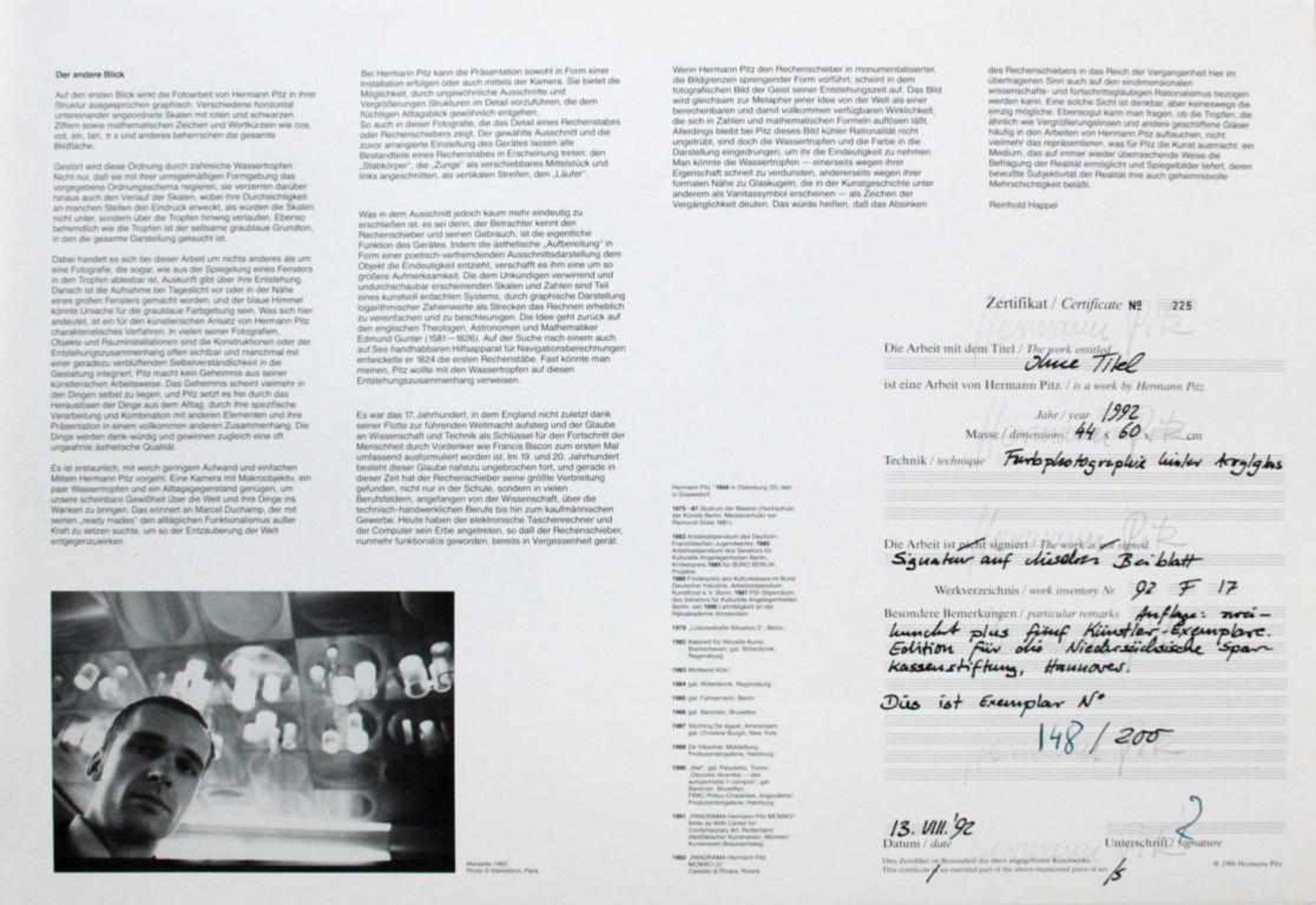 Pitz Hermann (geb. 1956) Ohne Titel 1992 Farbfotografie hinter Acrylglas beiliegendes Zertifikat, - Bild 3 aus 3